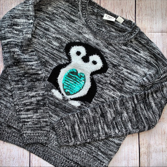 Cato Other - Cato Girls Size L Sequin Penguin Sweater